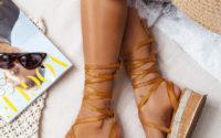 Brązowe wiązane sandałki Lace up