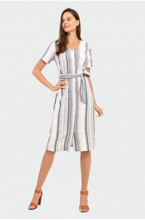 elegancka sukienka w paski midi
